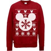 Sweat Homme/Femme Mickey Mouse Flocon de Noël - Disney - Rouge