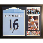 Sergio Aguero Signed and Framed Manchester City Shirt