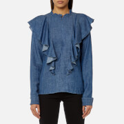 Gestuz Women's Cyndie Denim Blouse with Ruffle Detail - Denim Blue