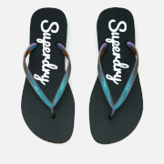 Superdry Women's Super Sleek Flip Flops - Black/Petrol