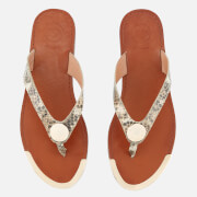 Dune Women's Lagos Leather Toe Post Sandals - Natural Reptile