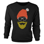 Hipster Santa Glitter Beard Black Women's Christmas Sweatshirt