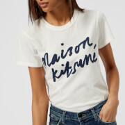 Maison Kitsuné Women's Handwriting Logo T-Shirt - Latte