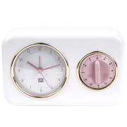 Nostalgia Clock with Kitchen Timer - White