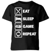 Eat Sleep Game Repeat Kids' T-Shirt - Black