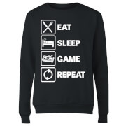 Eat Sleep Game Repeat Women's Sweatshirt - Black
