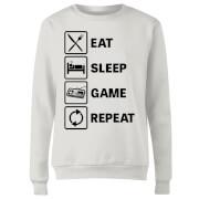 Eat Sleep Game Repeat Women's Sweatshirt - White
