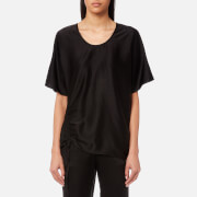 T by Alexander Wang Women's Asymmetric Drape Short Sleeve Top with Ruche - Black