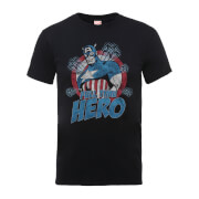 Marvel Comics Captain Amercia Full Time Hero Men's Black T-Shirt