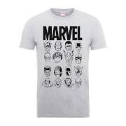 Marvel Multi Heads Men's Grey T-Shirt