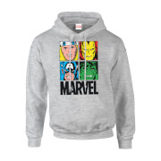 Marvel Multi Colour Main Tile Men's Grey Pullover Hoodie