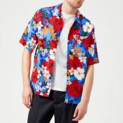 AMI Men's Patterned Short Sleeve Shirt - Blue