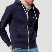 Maison Kitsuné Men's Tricolor Fox Patch Zip Hoody - Navy