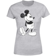 Disney Mickey Mouse Classic Kick B&W Women's T-Shirt - Grey