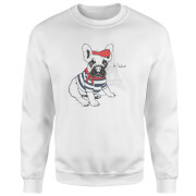 Je T'aime Frenchie Pullover - Weiß