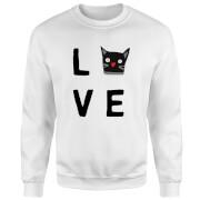 Cat Love Pullover - Weiß