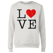 Love Heart Textured Dames trui - Wit