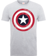 Marvel Avengers Assemble Captain America Distressed Shield T-Shirt - Grau