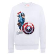 Sweat Homme Marvel Avengers Assemble - Captain America Comic Explosion - Blanc