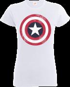 T-Shirt Femme Marvel Avengers Assemble - Captain America Bouclier Abimé - Blanc