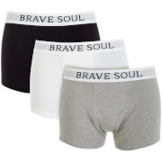 Brave Soul Men's Clark 3 Pack Boxers - Black/Grey/White