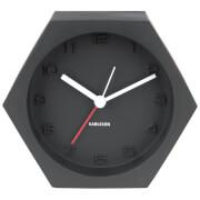 Karlsson Hexagon Alarm Clock - Concrete Black
