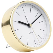 Karlsson Minimal Alarm Clock - White with Shiny Gold Case