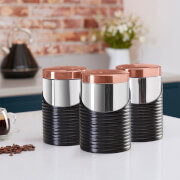 Tower Linear Set of 3 Canisters - Black/Rose Gold