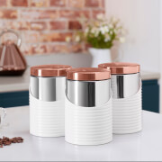 Tower Linear Set of 3 Canisters - White/Rose Gold