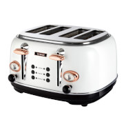 Tower T20017W 4 Slice Toaster - White/Rose Gold