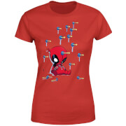 Marvel Deadpool Cartoon Knockout Dames T-Shirt - Rood