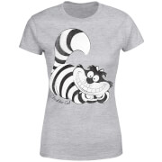 Disney Alice In Wonderland Cheshire Cat Mono Women's T-Shirt - Grey