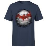 T-Shirt Homme Batman DC Comics - Logo sur le Mur - Bleu Marine