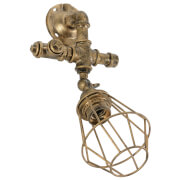 Lyyt Retro Industrial Wall Light with Angled Cage - Gold