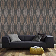 Boutique Black/Copper Lucia Floral Wallpaper