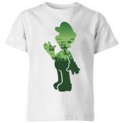 Nintendo Super Mario Luigi Silhouette Kinder T-Shirt - Weiß