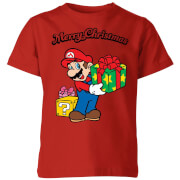 Nintendo Super Mario Merry Christmas Present Kids' T-Shirt - Red