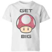 Nintendo Super Mario Get Big Mushroom T-Shirt Kinder T-Shirt - Weiß