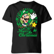 Nintendo Super Mario Luigi White Wreath Merry Christmas Kids' T-Shirt - Black