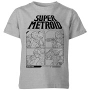 Nintendo Super Metroid Instructional Panel Kinder T-Shirt - Grau