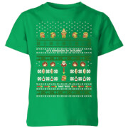 Nintendo Retro Christmas Kinder T-Shirt - Grün