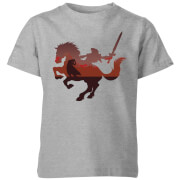 Nintendo The Legend Of Zelda Horse Silhouette Kinder T-Shirt - Grau