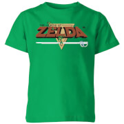 Nintendo The Legend Of Zelda Retro Logo Kinder T-Shirt - Grün