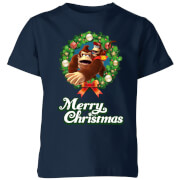 Nintendo Donkey Kong Wreath Merry Christmas Kids' T-Shirt - Navy