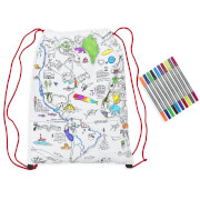 eatsleepdoodle Colour and Learn World Map Drawstring Backpack