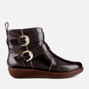 FitFlop Women's Laila Double Buckle Crinkle Patent Ankle Boots - Berry