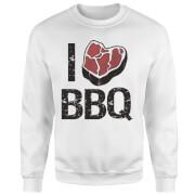 I Love BBQ Sweatshirt - White