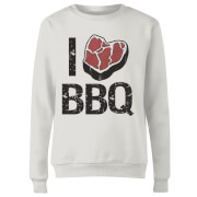 I Love BBQ Women's Sweatshirt - White