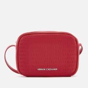 Armani Exchange Women's All Over Logo Embossed Cross Body Bag - Red