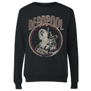 Marvel Deadpool Vintage Circle Women's Sweatshirt - Black